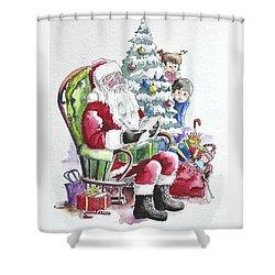 Childre Sneaking Around Santa Shower Curtain