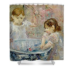 Children At The Basin Shower Curtain by Berthe Morisot