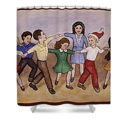 Children Dancing Shower Curtain by Linda Mears