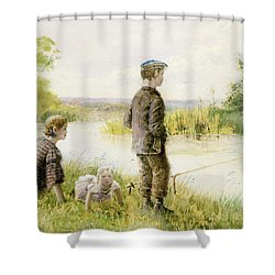 Children Fishing By A Stream Shower Curtain by George Goodwin Kilburne