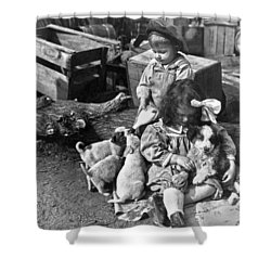 Children On Farm With Puppies Shower Curtain by Underwood Archives