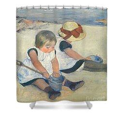 Children Playing On The Beach Shower Curtain by Mary Stevenson Cassatt