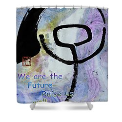Shower Curtain featuring the mixed media Children Raise Us Well by Peter v Quenter