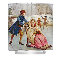 Children Skating Shower Curtain by Maurice Leloir