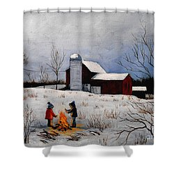 Children Warming Up By The Fire Shower Curtain
