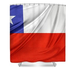 Chile Flag  Shower Curtain by Les Cunliffe