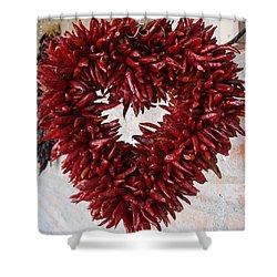 Shower Curtain featuring the photograph Chili Pepper Heart by Kerri Mortenson