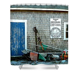 Chilmark Dock Shack Shower Curtain