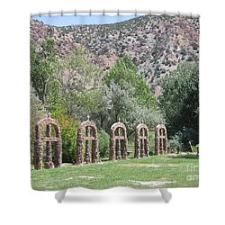Shower Curtain featuring the photograph Chimayo Sanctuary In New Mexico by Dora Sofia Caputo Photographic Art and Design