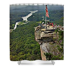 Shower Curtain featuring the photograph Chimney Rock Overlook by Alex Grichenko