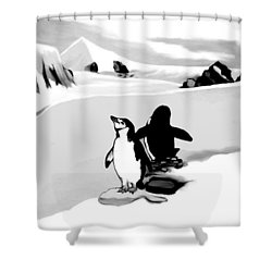 Chin Strap Penguins Shower Curtain