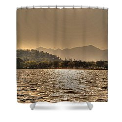China Lake Sunset Shower Curtain