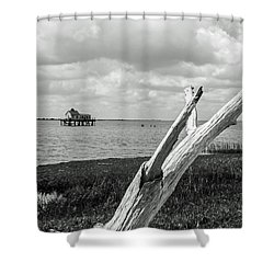 Chincoteague Oystershack Bw Vertical Shower Curtain