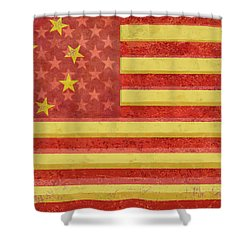 Chinese American Flag Blend Shower Curtain by Tony Rubino