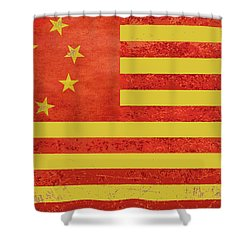 Chinese American Flag Shower Curtain by Tony Rubino