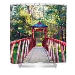 Chinese Bridge Wandiligong Shower Curtain by Linda Lees