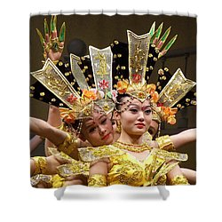 Chinese Dancers Perform Thousand Hands Guan Yin Shower Curtain