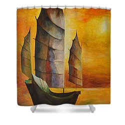 Chinese Junk In Ochre Shower Curtain by Tracey Harrington-Simpson