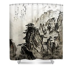 Shower Curtain featuring the painting Chinese Mountains With Poem In Ink Brush Calligraphy Of Love Poem by Peter v Quenter