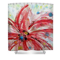 Shower Curtain featuring the painting Chinese Red Flower by Joan Reese