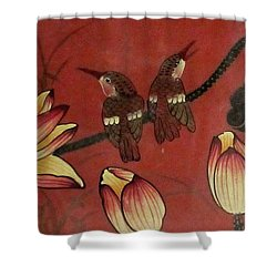 Chinese Red Lacquer Chest Detail Shower Curtain