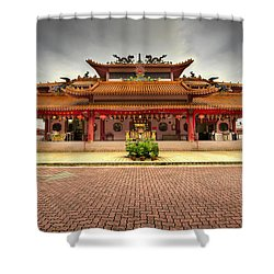 Chinese Temple Paved Square Shower Curtain by David Gn