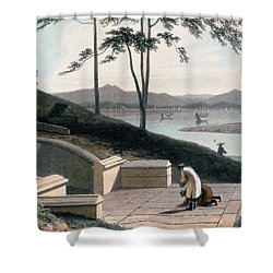 Chinese Tomb With Two Mourners Shower Curtain by Thomas & William Daniell