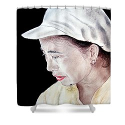 Chinese Woman With A Facial Mole Shower Curtain by Jim Fitzpatrick