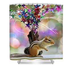 Chippy Party Time Shower Curtain by Peggy Collins