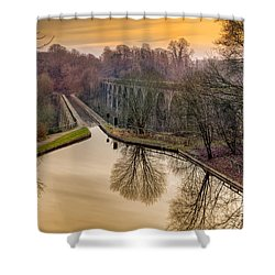 Chirk Aqueduct Shower Curtain by Adrian Evans