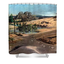 Chirotherium In Lower Triassic Landscape Shower Curtain by Science Source