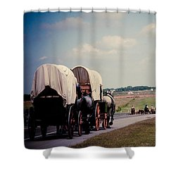 Chisholm Trail Centennial Cattle Drive Shower Curtain by Toni Hopper