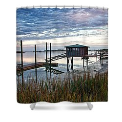 Chisolm Island Docks Shower Curtain