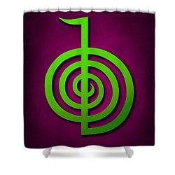 Cho Ku Rei - Lime Green On Purple Reiki Usui Symbol Shower Curtain by Cristina-Velina Ion