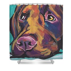 Choco Lab Love Shower Curtain by Lea S