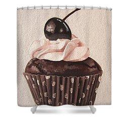 Chocolate Cherry Cupcake Shower Curtain by Kayleigh Semeniuk