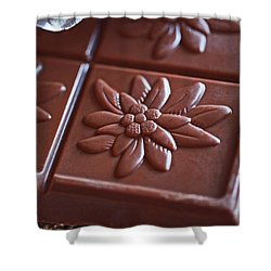 Chocolate Flower  Shower Curtain by Rona Black