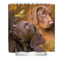 Shower Curtain featuring the mixed media Chocolate Lab by Carol Cavalaris