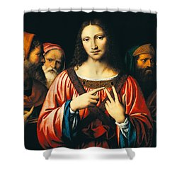 Christ Among The Doctors Shower Curtain by Bernardino Luini