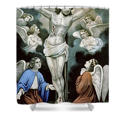 Christ And The Angels Circa 1856 Shower Curtain by Aged Pixel
