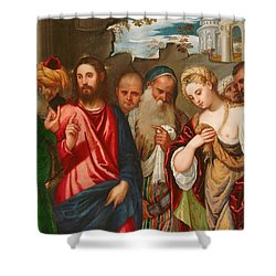 Christ And The Woman Taken In Adultery Shower Curtain by Veronese