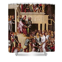 Christ Before Pilate, C.1530 Shower Curtain by Lodovico Mazzolino