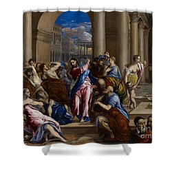 Christ Driving The Money Changers From The Temple Shower Curtain by El Greco