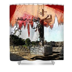Christ On The Cross Shower Curtain by Liane Wright