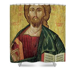 Christ Pantocrator Shower Curtain by Bulgarian School