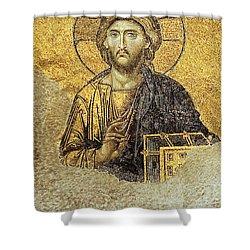 Christ Pantocrator-detail Of Deesis Mosaic Hagia Sophia-judgement Day Shower Curtain
