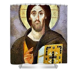 Shower Curtain featuring the mixed media Christ Pantocrator Of Sinai by Dragica  Micki Fortuna