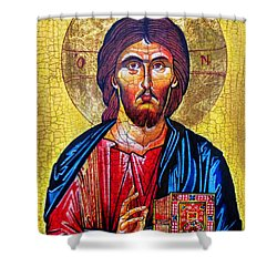 Christ The Pantocrator Icon Shower Curtain by Ryszard Sleczka