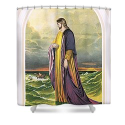 Christ Walking On The Sea Shower Curtain by English School