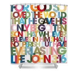 Christian Art- John 3 16 Versevisions Poster Shower Curtain by Mark Lawrence